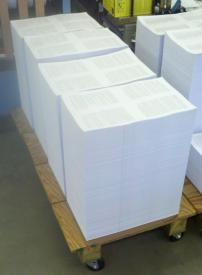 Stacks of unfolded booklets